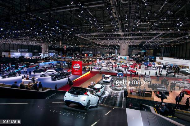 Feature of the Geneva Car Show halls at the 88th Geneva International Motor Show on March 7 2018 in Geneva Switzerland Global automakers are...
