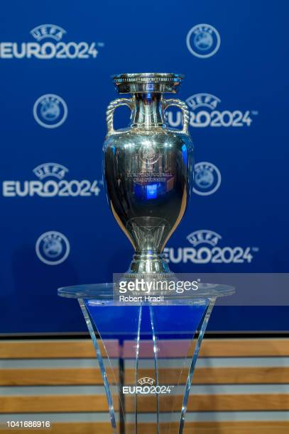 Feature of the trophy during the UEFA EURO 2024 Host Announcement Ceremony on September 27, 2018 in Nyon, Switzerland.