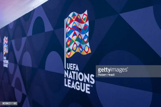 Feature of the UEFA Nations League logo during the UEFA Nations League Draw 2018 at Swiss Tech Convention Center on January 24, 2018 in Lausanne,...