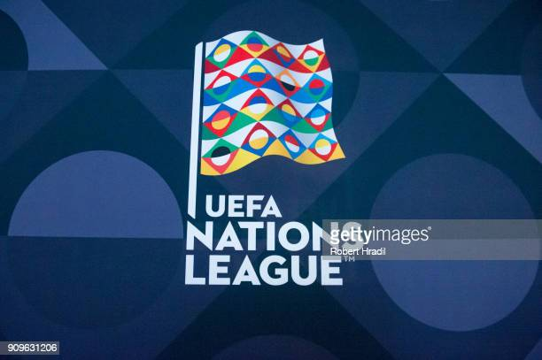Feature of the UEFA Nations League logo during the UEFA Nations League Draw 2018 at Swiss Tech Convention Center on January 24 2018 in Lausanne...