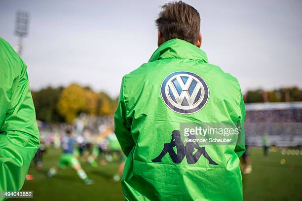 Feature of the Volkswagen logo and the Kapa logo during the first bundesliga match between SV Darmstadt 98 and VFL Wolfsburg at MerckStadion am...