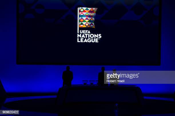 Feature of UEFA Nations League draw during the UEFA Nations League Draw 2018 at Swiss Tech Convention Center on January 24 2018 in Lausanne...
