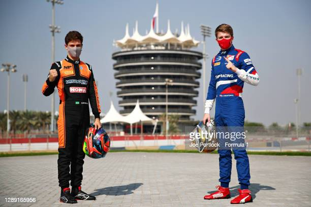 Feature race winner in Bahrain, Felipe Drugovich of Brazil and MP Motorsport and sprint race winner in Bahrain Robert Shwartzman of Russia and Prema...