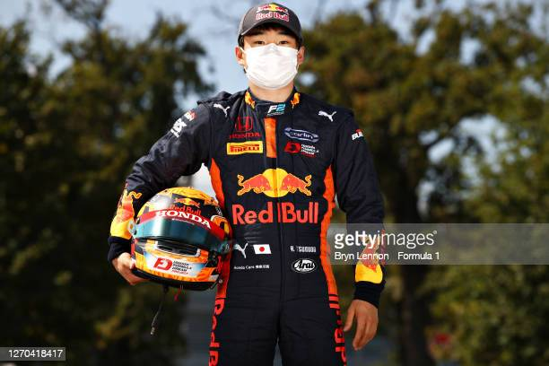 Feature race winner in Belgium, Yuki Tsunoda of Japan and Carlin poses for a photo in the Paddock during previews ahead of the Formula 2 Championship...