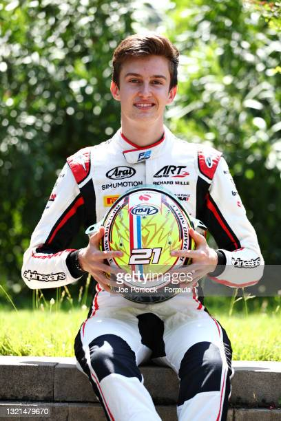 Feature Race winner in Monaco Theo Pourchaire of France and ART Grand Prix poses during previews ahead of Round 3:Baku of the Formula 2 Championship...