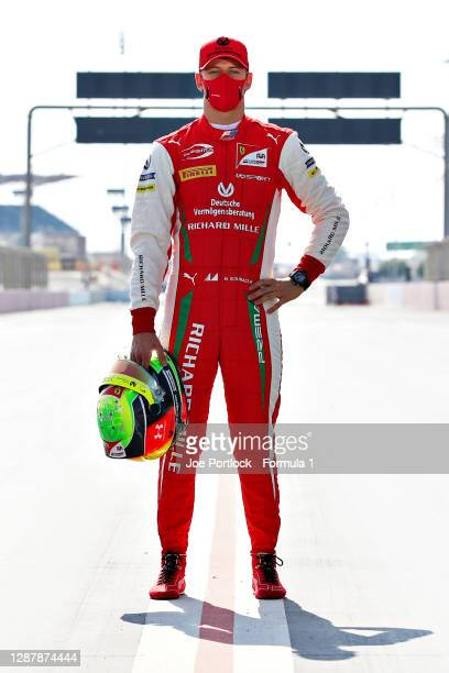 Feature race winner in Russia, Mick Schumacher of Germany and Prema Racing poses for a photo during previews ahead of Round 11:Sakhir of the Formula...