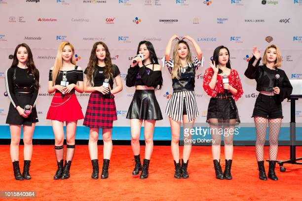 Featured Artist 'Dreamcatcher' attends the Photo Op at KCON 2018 LA at Los Angeles Convention Center on August 11 2018 in Los Angeles California