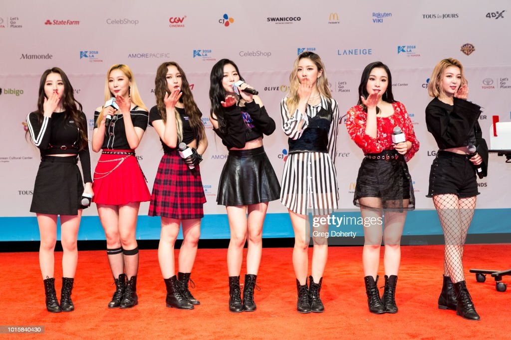 Featured Artist 'Dreamcatcher' attends the Photo Op at KCON 2018 LA at Los Angeles Convention Center on August 11, 2018 in Los Angeles, California.
