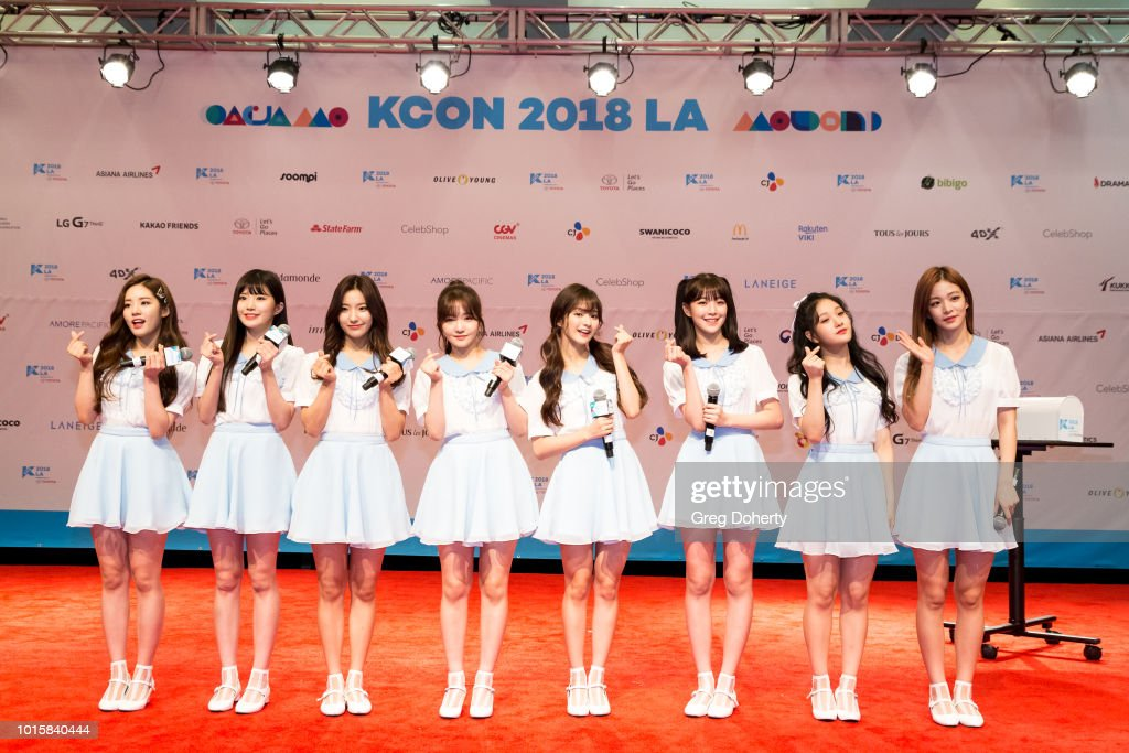 Featured Artist 'Fromis_9' attends the Photo Op at KCON 2018 LA at Los Angeles Convention Center on August 11, 2018 in Los Angeles, California.