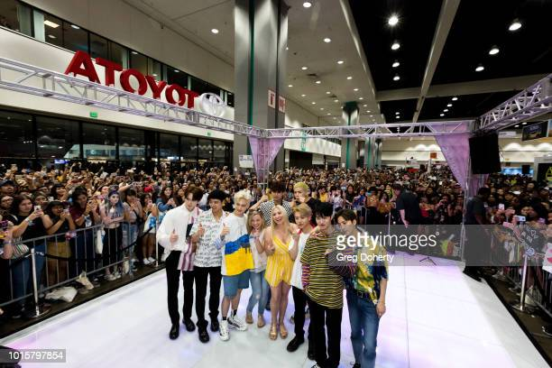 Featured Artist 'Pentagon' attend a Photo Op at KCON 2018 LA at Los Angeles Convention Center on August 11 2018 in Los Angeles California