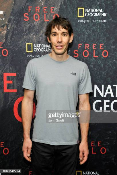 Featured climber Alex Honnold attends the screening of 'Free Solo' hosted by Tim McGraw at SilverScreen Theater at the Pacific Design Center on...