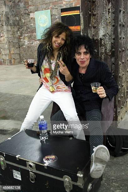 Featured Event Artists' Stella Michaels and Zane Fink attends the Exclusivleecom Launch Party>> at Stray Kat Gallery on September 18 2014 in New York...