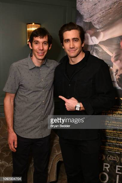 Featured Free Soloist Alex Honnold and actor Jake Gyllenhaal attend a special screening of National Geographic Films 'Free Solo' on January 09 2019...