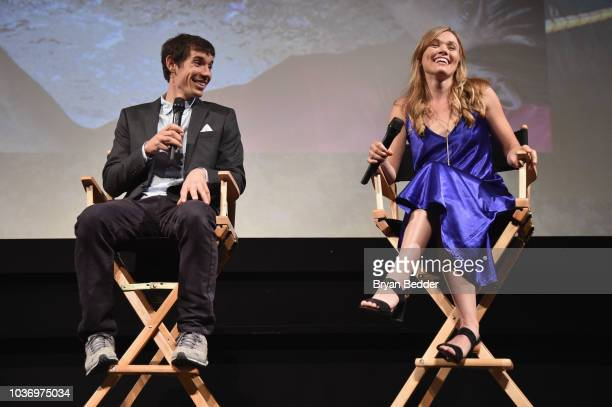 Featured Free Soloist Alex Honnold and Free Solo Film Subject Sanni McCandless speak onstage during the New York City premiere of National Geographic...