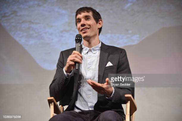 Featured Free Soloist Alex Honnold speaks onstage during the New York City premiere of National Geographic Documentary Films' 'Free Solo' at Jazz at...