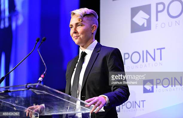 Featured scholar Meg Day speaks onstage during Point Foundation's Voices On Point Gala at the Hyatt Regency Century Plaza on September 13 2014 in Los...