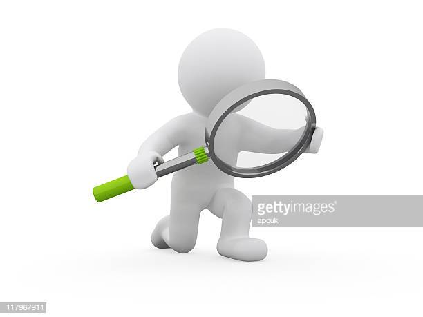 Featureless figure holding a giant magnifying glass