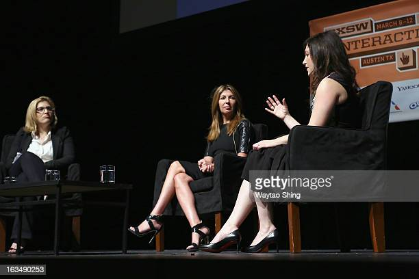 Features Editor for Marie Claire Lea Goldman Creative Director of Marie Claire Magazine Nina Garcia and Randi Zuckerberg speak onstage at Style Goes...
