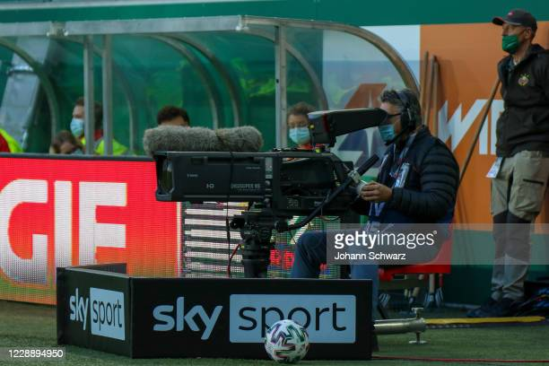 Features TV cameraman with camera during the tipico Bundesliga match between SK Rapid Wien and LASK at Allianz Stadion on October 4 2020 in Vienna...