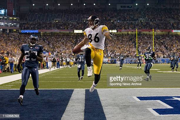 Feb 05 2006 Detroit Michigan USA HINES WARD is airborne after scoring a TD during the fourth quarter of Super Bowl XL between the Seattle Seahawks...