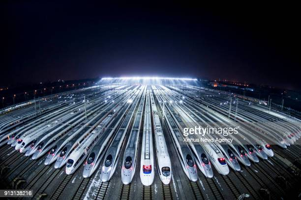 WUHAN Feb 1 2018 Highspeed trains wait to be maintained in Wuhan central China's Hubei Province Feb 1 2018 The 2018 Spring Festival travel rush known...