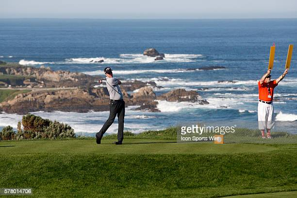 Chris Kirk tees off from the picturesque 4th hole at Spyglass Hill Golf Course during the ATT Pebble Beach National ProAm in Pebble Beach CA
