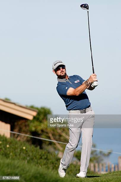 Rory Sabbatini tees off from the 6th at Spyglass Hill Golf Course during the ATT Pebble Beach National ProAm in Pebble Beach CA