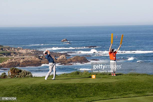 Rory Sabbatini tees off from the picturesque 4th hole at Spyglass Hill Golf Course during the ATT Pebble Beach National ProAm in Pebble Beach CA
