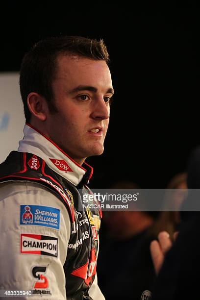 Austin Dillon driver of the DOW Chevy SS is interviewed by the media during the 2014 NASCAR Media Day at the Daytona International Speedway on Feb 13...