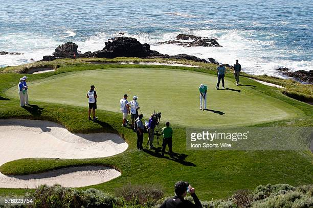 Brandt Snedeker putts on Hole 7 during the final round of the ATT Pebble Beach National ProAm in Pebble Beach CA