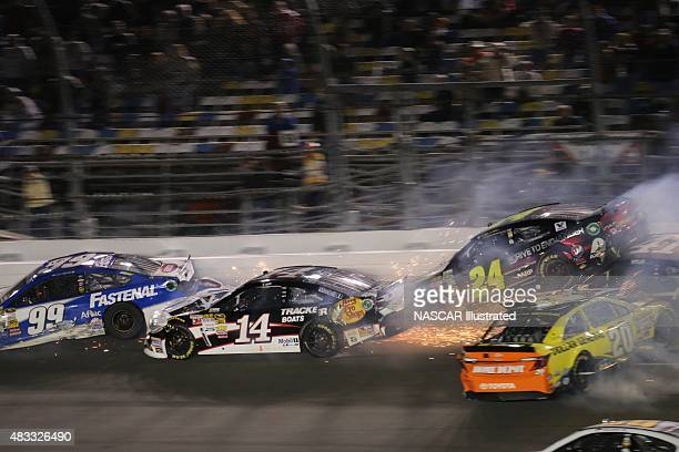 Cars crashing on track during the running of the 2014 Sprint Unlimited race at the Daytona International Speedway Picture taken on Feb 15 2014 in the...
