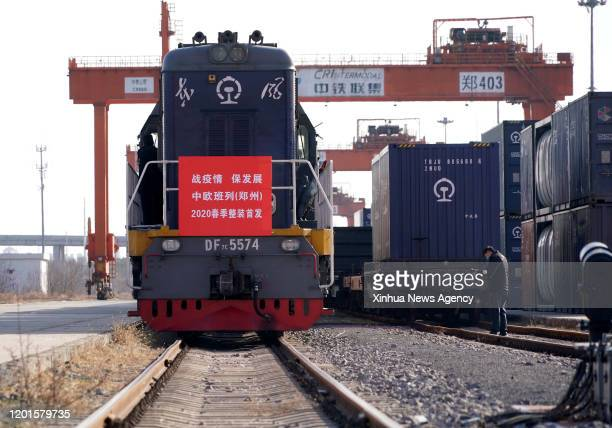 Feb. 16, 2020 -- A China-Europe freight train is ready to depart at Zhengzhou Station, central China's Henan Province, Feb. 16, 2020. Loaded with...