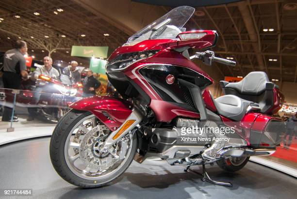 TORONTO Feb 17 2018 A Honda 2018 Gold Wing motorcycle is seen during the 2018 Toronto Motorcycle Show in Toronto Canada Feb 17 2018 Featuring...