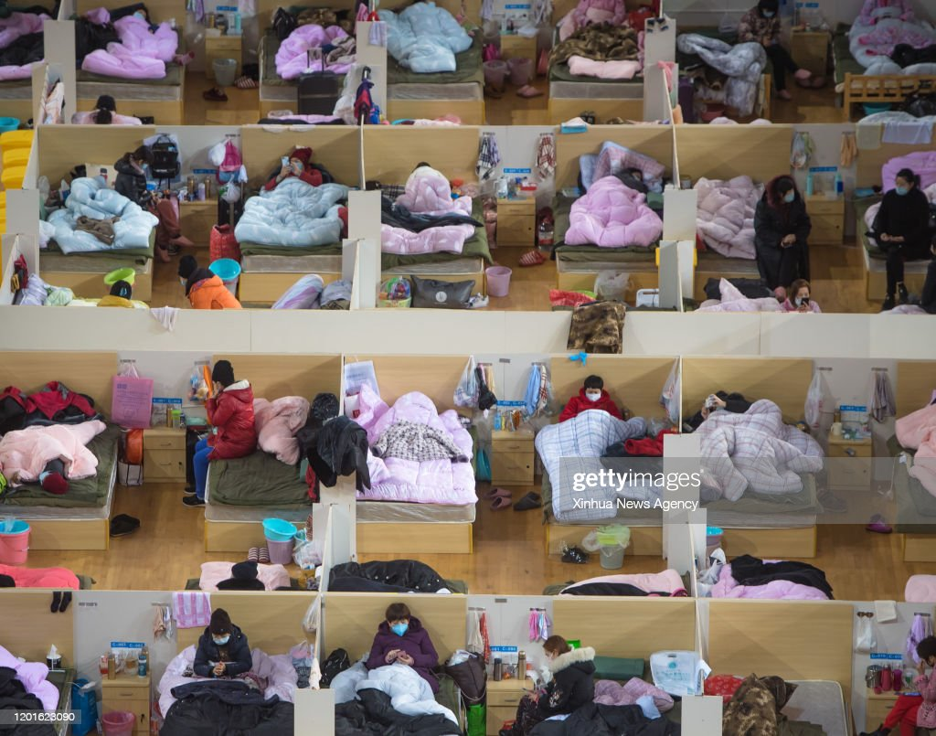 CHINA-HUBEI-WUHAN-NOVEL CORONAVIRUS-TEMPORARY HOSPITAL-NIGHT (CN) : News Photo