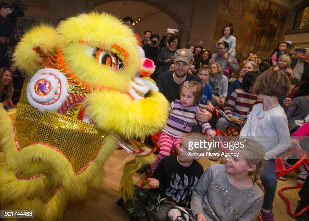 TORONTO Feb 18 2018 Kids enjoy lion dance performance during the 2018 Toronto Happy Chinese New Year Reception Family Day Weekend event at Royal...