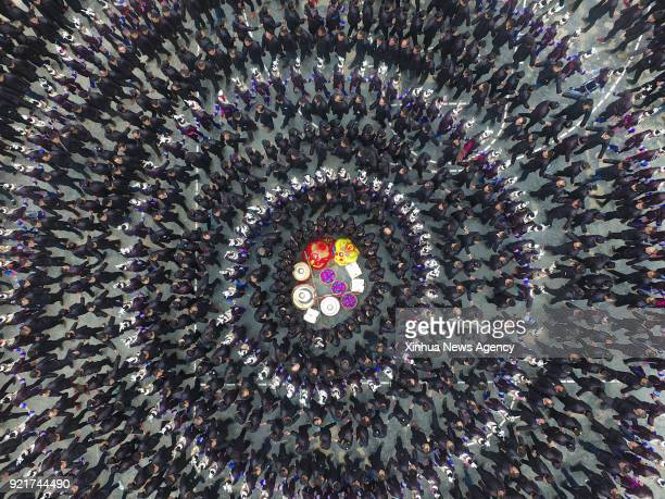 Feb. 19, 2018 -- People of Dong ethnic group attend Duoye, a traditional celebrating activity, in Congjiang County, southwest China's Guizhou...