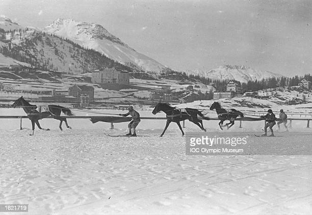 Competitors in action during the Skijoering event at the 1928 Winter Olympic Games in St Moritz Switzerland Mandatory Credit IOC Olympic Museum...
