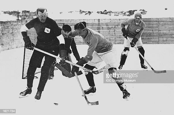 French and British Teams in action near a goal during a match in the Ice Hockey event at the 1928 Winter Olympic Games in St Moritz Switzerland...