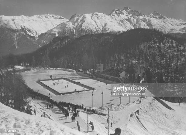 General view of the venue during the Ice Hockey event at the 1928 Winter Olympic Games in St Moritz Switzerland Mandatory Credit IOC Olympic Museum...