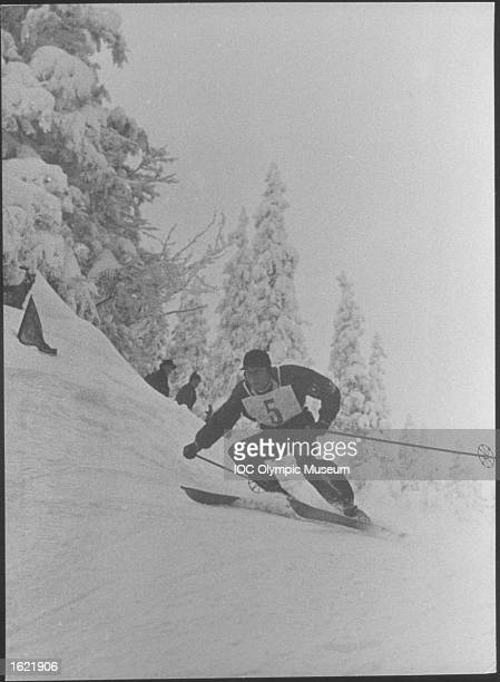 Franz Pnuer of Germany in action in the Men's Alpine Combined event during the 1936 Winter Olympic Games in GarmischPartenkirchen Germany Pnuer won...