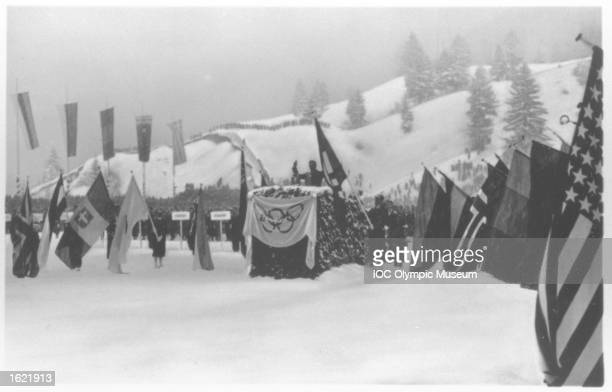 Willy Bogner of Germany swears the Olympic Oath during the Opening Geremony of the 1936 Winter Olympic Games in GarmischPartenkirchen Germany...