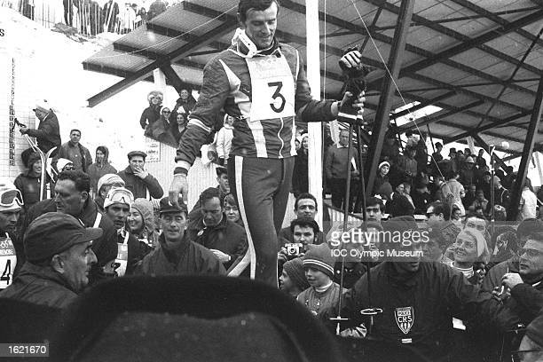 JeanClaude Killy of France walking amongst the crowd between events during the 1968 Winter Olympic Games in Grenoble France Mandatory Credit IOC...