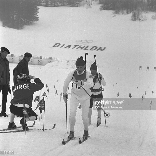 Olle Petrusson of Sweden in action in the Biathlon 4 x 75 Kilometre Relay event during the 1968 Winter Olympic Games in Autrans France Sweden won the...