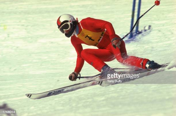 Rosie Mittermaier of Germany in action during the Slalom event of the 1976 Winter Olympic Games in Innsbruck Austria Mittermaier won the gold medal...