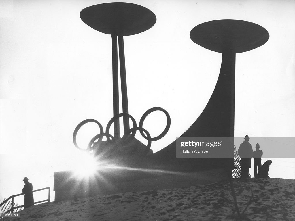 Winter Olympics, Innsbruck. The twin Olympic Cauldrons, to celebrate not only the present games but also the previous time they where held in Innsbruck, 1964. Mandatory Credit: Allsport Hulton/Archive