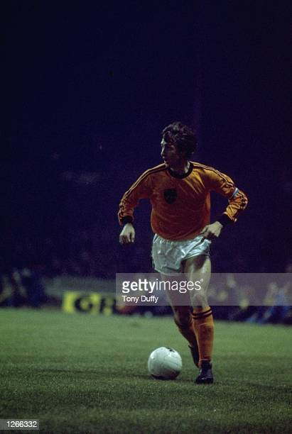 Johan Cruyff of Holland in action during a match against England at Wembley Stadium in London. Holland won the match 2-0. \ Mandatory Credit: Tony...