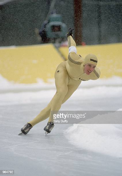 Eric Heiden of the USA in action in a speed skating event during the Winter Olympic Games in Lake Placid NY USA Heiden won 5 gold medals Mandatory...