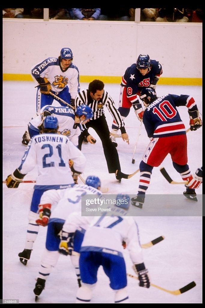 General view of a face off in the gold medal game between the United States and Finland during the Winter Olympics in Lake Placid, New York. The United States won the game 4-2 and the gold medal.