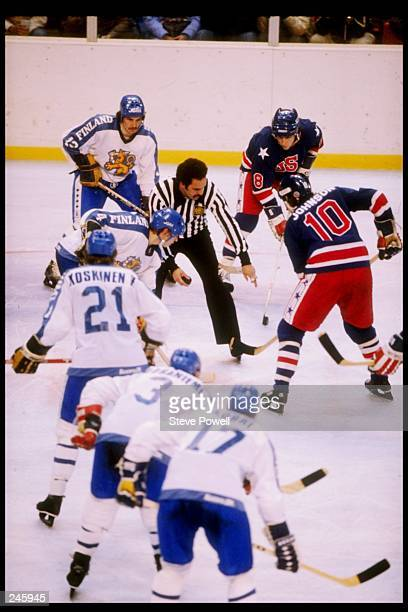 General view of a face off in the gold medal game between the United States and Finland during the Winter Olympics in Lake Placid New York The United...