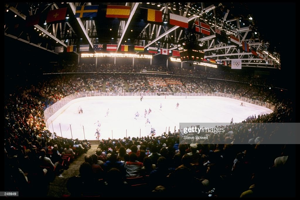 General view of the arena during the gold medal game between the United States and Finland at the Winter Olympics in Lake Placid, New York. The United States won the game 4-2 and the gold medal.